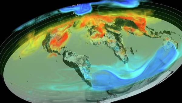 Wall Art - Photograph - Global Atmospheric Carbon Dioxide by Nasa's Scientific Visualization Studio/science Photo Library