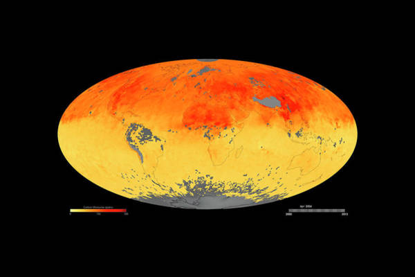 Pollution Photograph - Global Carbon Monoxide Levels by Goddard Space Flight Center/nasa Earth Observatory/jesse Allen/nasa