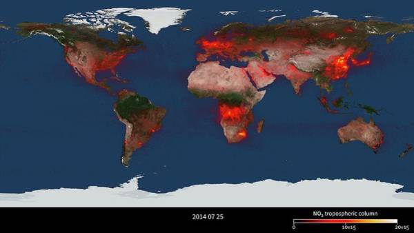 Wall Art - Photograph - Global Nitrogen Dioxide Levels by Nasa/goddard Space Flight Center/science Photo Library