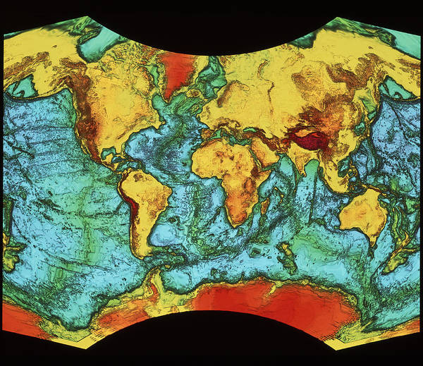 Cartography Photograph - Global Topography by Bp/nrsc/science Photo Library