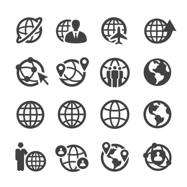Globe And Communication Icons Set - Acme Series Art Print by -victor-
