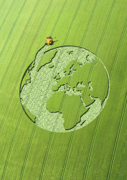 Environmental Issues Digital Art - Globe Crop Circle In Green Field by Jon Berkeley