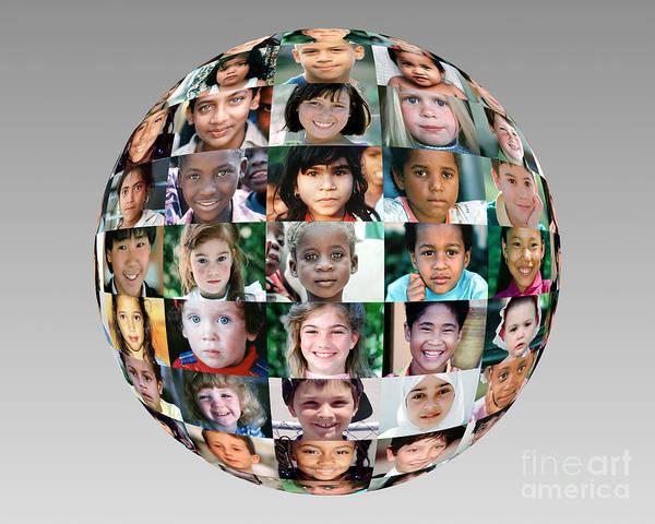 Little Planet Digital Art - Globe Of Children Faces by Wernher Krutein