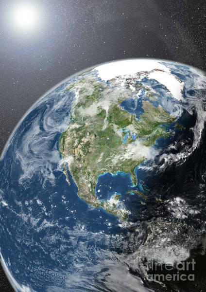 Photograph - Globe Showing Northern America by Planet Observer