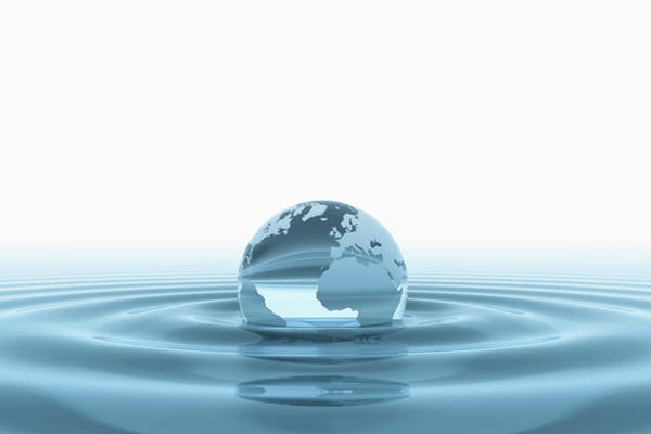 Wall Art - Photograph - Globe Submerged In Water by Jesper Klausen / Science Photo Library