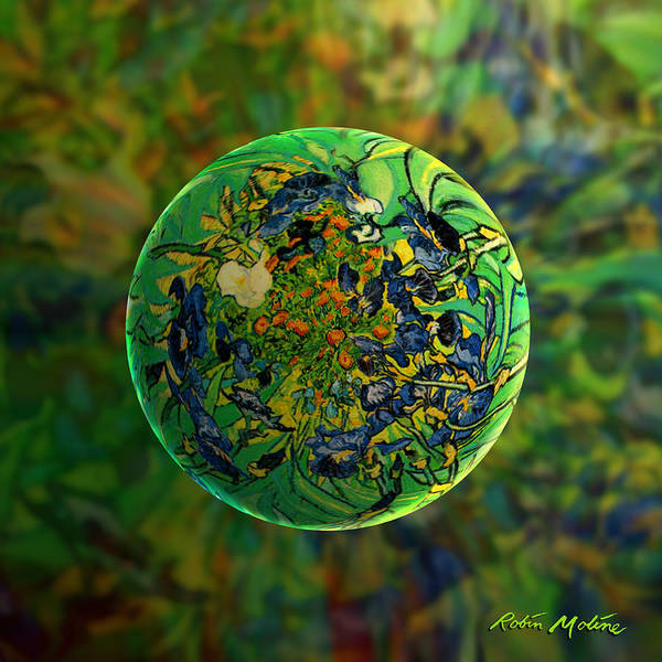Floral Digital Art - Globing Earth Irises by Robin Moline