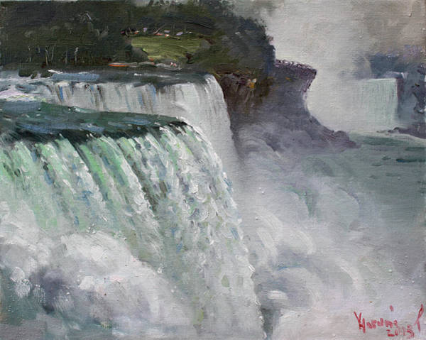 Gloomy Wall Art - Painting - Gloomy Day At Niagara Falls by Ylli Haruni