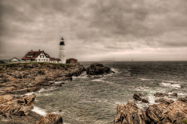 Photograph - Gloomy Day At The Portland Head Light by At Lands End Photography