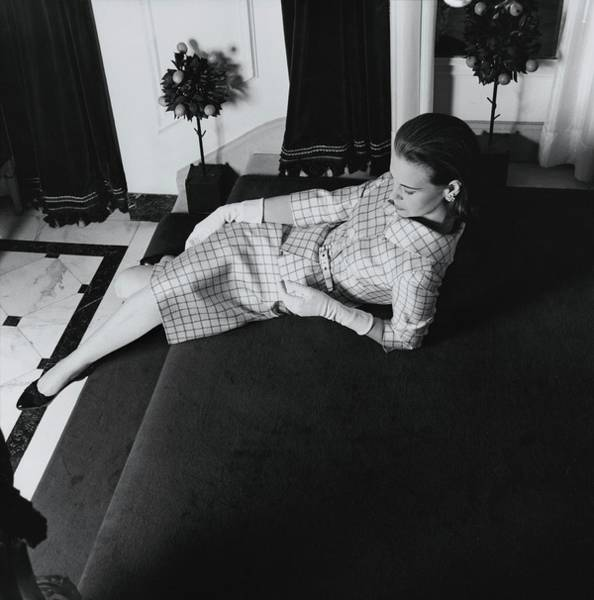 Gloria Photograph - Gloria Vanderbilt Reclining On A Staircase by Horst P. Horst