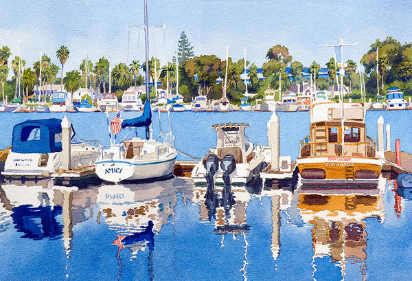 Wall Art - Painting - Glorietta Bay Marina by Mary Helmreich