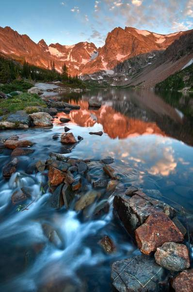 Alpenglow Photograph - Glorious Indian Peaks Alpenglow by Mike Berenson