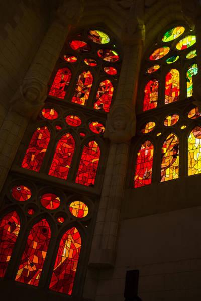 Photograph - Glorious Reds And Yellows - Sagrada Familia Stained Glass Windows by Georgia Mizuleva
