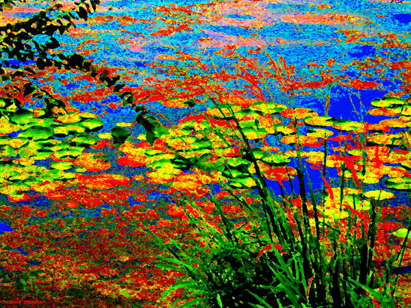Painting - Glorious Water Lilies Banks Of The Lachine Canal Montreal Summer  Scenes Art Carole Spandau by Carole Spandau