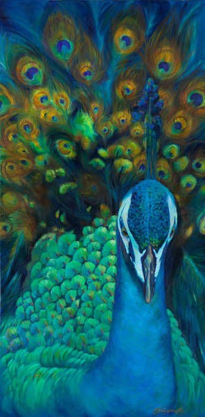 Peafowl Painting - Glory by Chris Brandley