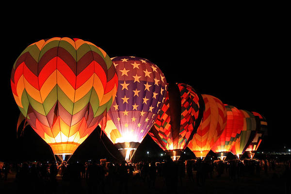 Hot Air Balloons Photograph - Glow Show by Donna Kennedy