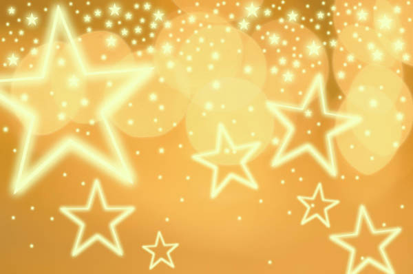 Christmas Lights Photograph - Glowing Background With Stars, Studio by Tetra Images