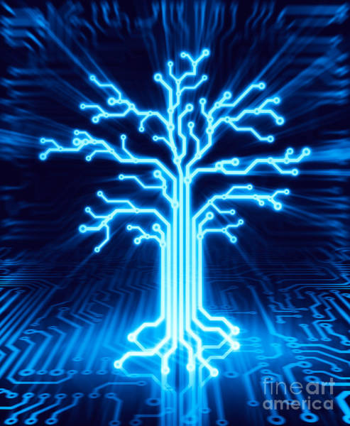 Cabling Photograph - Glowing Digital Tree Circuits Conceptual Illustration by Oleksiy Maksymenko