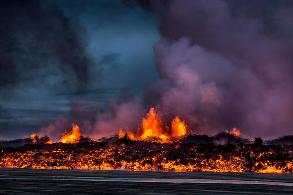 Fissure Photograph - Glowing Lava From The Eruption by Panoramic Images