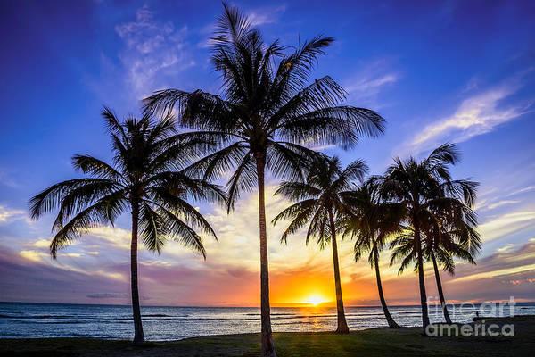 Hawaiian Sunset Photograph - Glowing Orange Hawaiian Sunset by Aloha Art