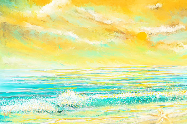 Wall Art - Painting - Glowing Waves - Seascapes Sunset Abstract by Lourry Legarde
