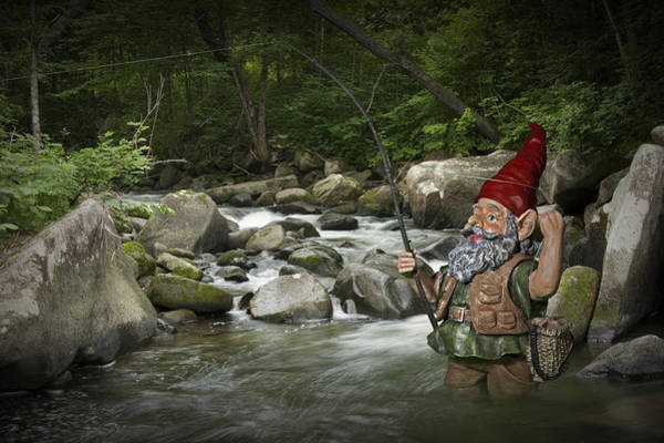 Angling Art Photograph - Gnome Fishing On A Wilderness Trout Stream by Randall Nyhof