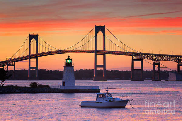 Newport Ri Wall Art - Photograph - Goat Island Lighthouse And Newport Bridge At Sunset by Katherine Gendreau