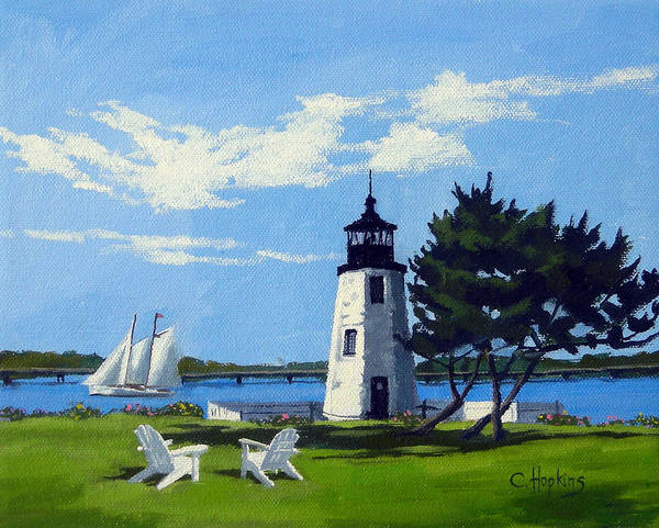 Wall Art - Painting - Goat Island Lighthouse Newport Rhode Island by Christine Hopkins