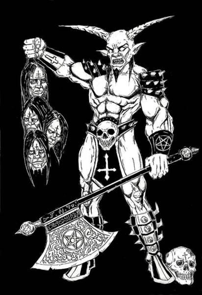 Demonic Drawing - Goatlord Hero by Alaric Barca