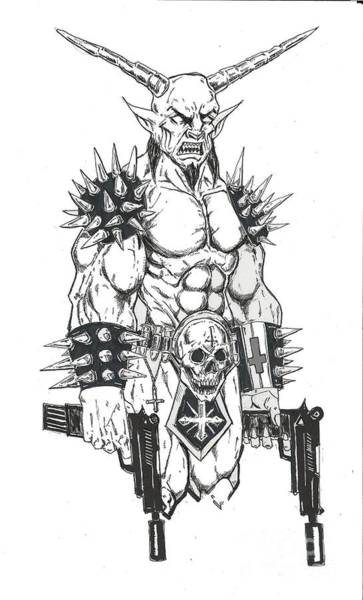 Demonic Drawing - Goatlord Hit List White by Alaric Barca