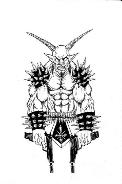 Demonic Drawing - Goatlord Vengeance White by Alaric Barca