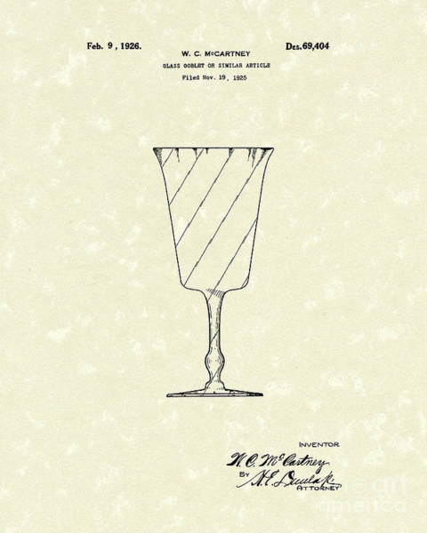 Goblets Wall Art - Drawing - Goblet 1926 Patent Art by Prior Art Design