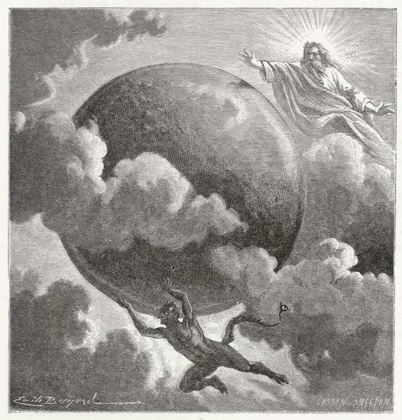 Cosmos Drawing - God And Satan, Between Them,  Propel by Mary Evans Picture Library