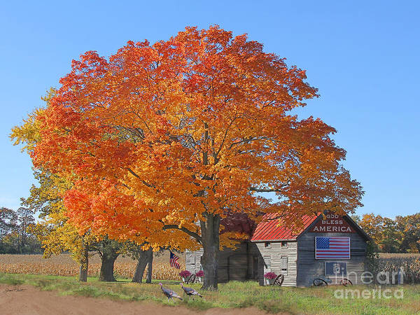 Tin Roof Wall Art - Photograph - God Bless America-autumn by Jean Plout