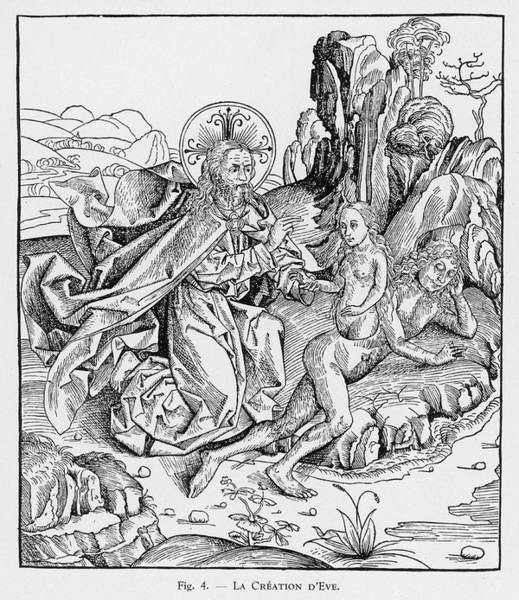 Wall Art - Drawing - God Creates Eve While Adam  Lies by Mary Evans Picture Library