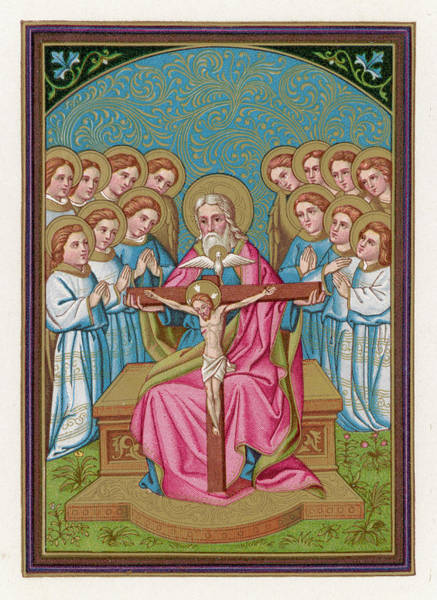 Wall Art - Drawing - God Holds The Cross On Which  His Son by Mary Evans Picture Library