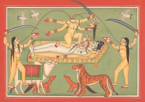 Wall Art - Painting - God Shiva Shankar Goddess Kali Tantric Artwork Miniature Painting Hindu Art Gallery by A K Mundhra