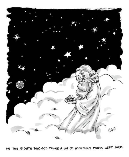 Bible Drawing - God Stands In A Cloud Formation In Space by Carolita Johnson