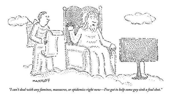 Wall Art - Drawing - God Watches A Flat-screen Tv by Robert Mankoff