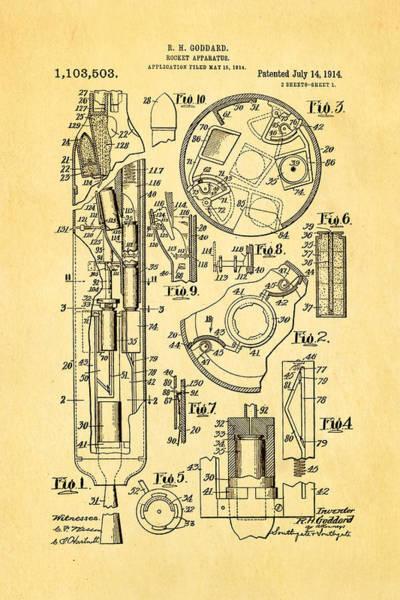 Monk Photograph - Goddard Rocket Patent Art 1914 by Ian Monk
