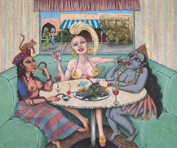 Wall Art - Painting - Goddess Lunch by Holly Wood