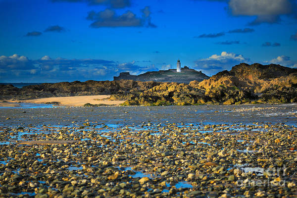 Ives Photograph - Godrevy Lighthouse Cornwall by Louise Heusinkveld