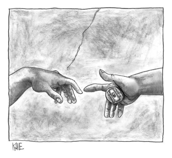 Sistine Wall Art - Drawing - God's Hand Touching Adam's Hand A La Sistine by John Kane