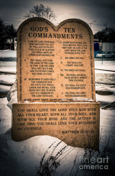 Grace Cathedral Photograph - God's Ten Commandments by Grace Grogan