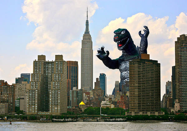 Comic Book Photograph - Godzilla And The Empire State Building by William Patrick