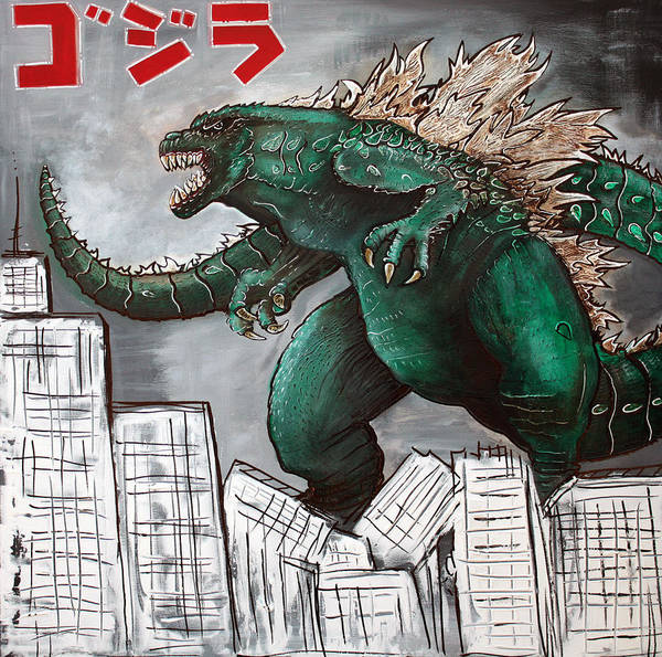 Wall Art - Painting - Godzilla Gojira by Laura Barbosa
