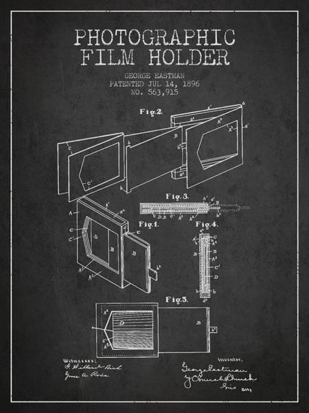 Lens Digital Art - George Eastman Film Holder Patent From 1896 - Dark by Aged Pixel
