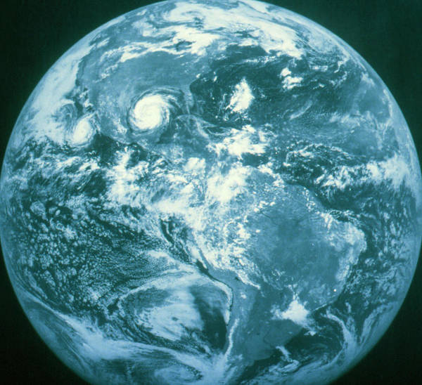 Wall Art - Photograph - Goes Image Of Weather Systems Over Earth by Noaa/science Photo Library.