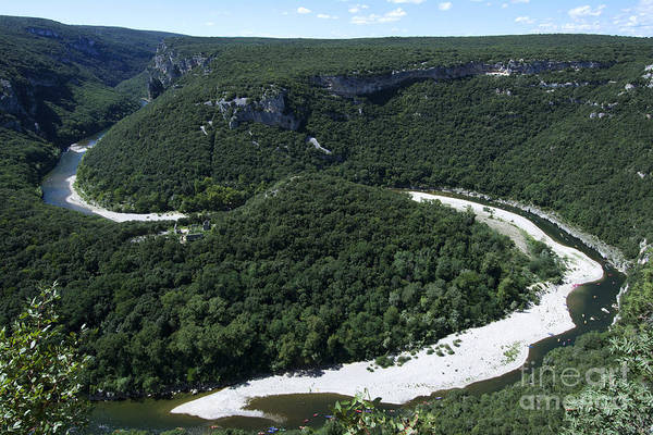 Rhone River Photograph - Going Down Ardeche River On Canoe. Ardeche. France by Bernard Jaubert