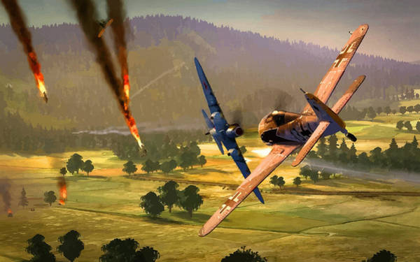 Junkers Digital Art - Going Down In The Blaze Of Glory by Don Kuing