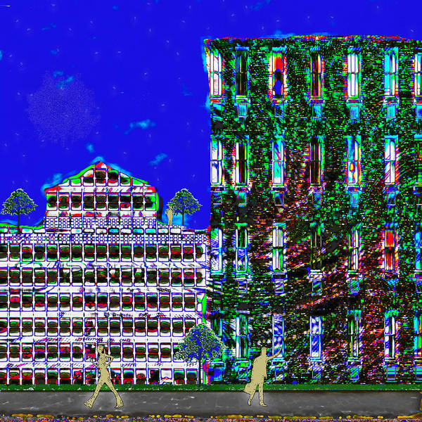 Highrise Digital Art - Going Green In The City by Melissa Osborne